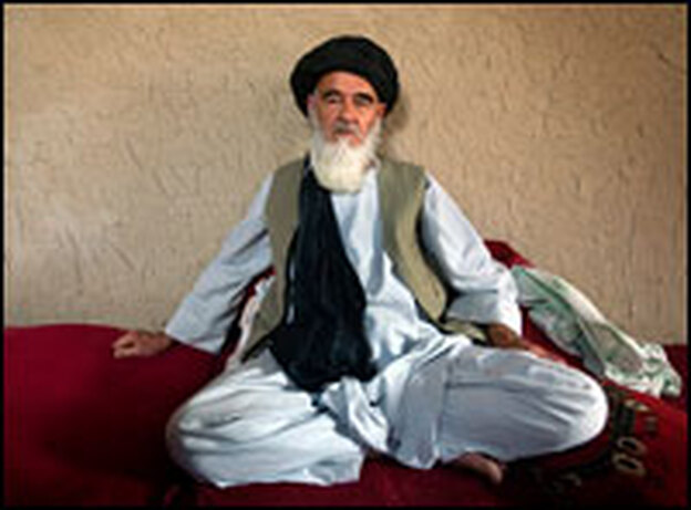 Mohammad Hanefi, head cleric of Kandahar's ulama, or council of Muslim scholars, sits in his home at the Afghan National Army compound in Kandahar. Clerics who have spoken out against the Taliban have become targets. Four clerics in Kandahar have been assassinated in the past three months.