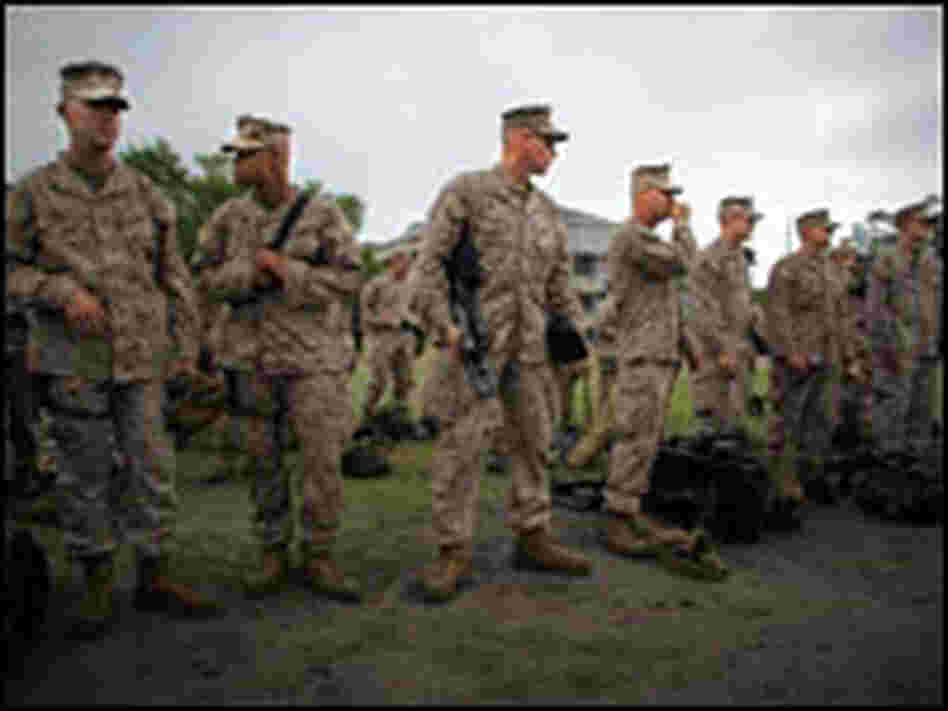 Marines prepare for deployment as part of the 2nd Marine Expeditionary Brigade. John Poole/NPR