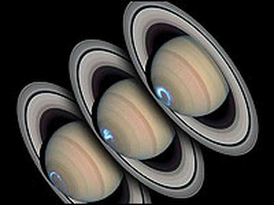 Three images of Saturn taken by Hubble in 2004 show a changing aurora around its pole.