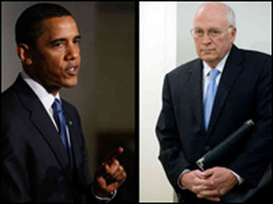 Left: President Obama at National Archives/Right: Cheney At AEI