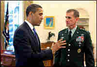 Obama meets with Lt. Gen. Stanley McChrystal in the Oval Office