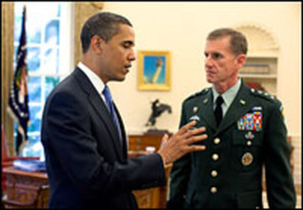 President Obama meets with Lt. Gen. Stanley McChrystal, the new U.S. commander for Afghanistan, on May 19 in the Oval Office.