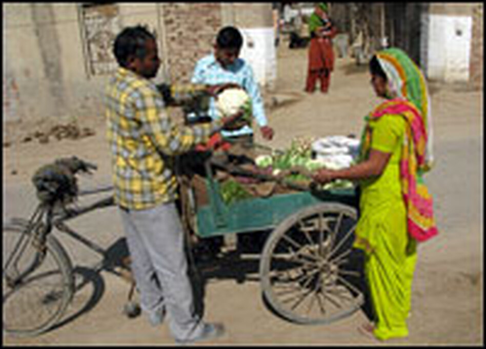 A local vendor sells his morning harvest to a villager on the street outside Sharma's compound. Sharma says his family only eats their own organic produce.