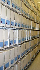 Boxes of Blackmun's papers line shelves at the Library of Congress.