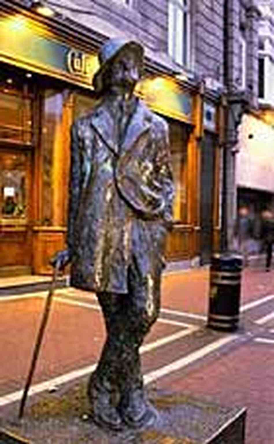 The famed Marjorie Fitzgibbon statue of James Joyce on O'Connell Street in Dublin, Ireland