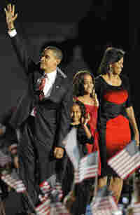 Barack Obama and his family at his victory rally in Chicago.