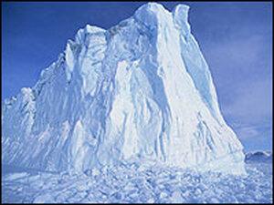 A giant glacier remnant in Baffin Bay, northwest Greenland.