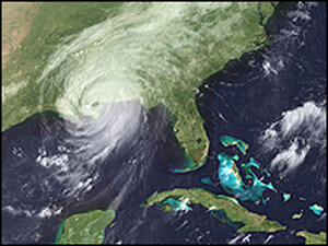 A satellite image shows Hurricane Katrina with the eye of the storm over New Orleans.