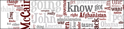 A visual representation of the the words Gov. Sarah Palin used in the 10/2/08 VP debate.