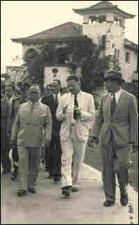 Fred L. Soper, walking with Brazilian President Getulio Vargas, circa 1940.