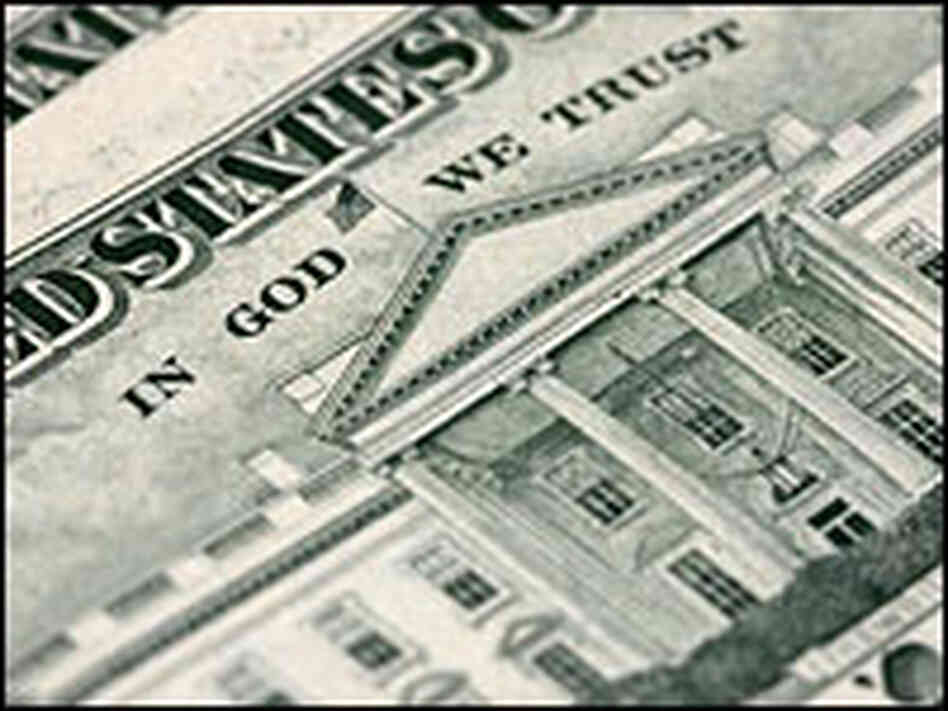 'In God We Trust' on the back of the $20 bill.