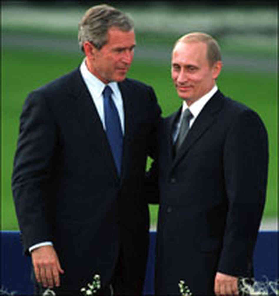 President Bush with Russian President Vladimir Putin in 2001.
