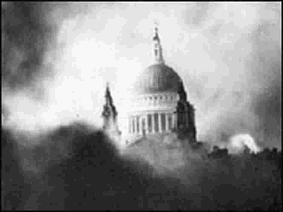 St. Paul's Cathedral during a fire after a bombing raid on London in December 1940.