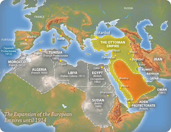 The expansion of the European empires until 1914