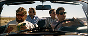 Zach Galifianakis, Bradley Cooper, Ed Helms and Justin Bartha in 'The Hangover'