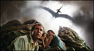 Will Ferrell, Danny McBride, Anna Friel and a pterodactyl in 'Land of the Lost'.