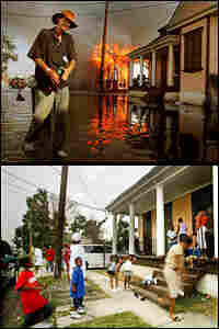 A resident walks past a burning house fire in the 7th ward September 6, 2005 in New Orleans.