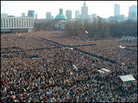 More than 100,000 worshippers packed Warsaw's Pilsudski Square. Reuters