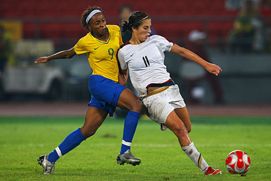 Women's soccer between Brazil and the U.S.