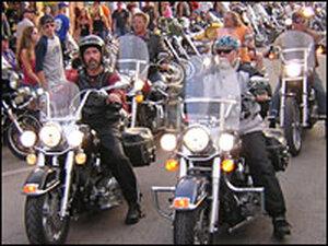 Harleys cruising the streets of Sturgis, S.D.