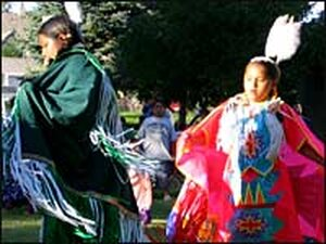Young dancers celebrate at a powwow held at the Fort Hall Reservation Aug. 4.