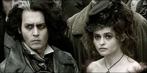Standouts in a crowd: Sweeney Todd and Mrs. Lovett (Johnny Depp and Helena Bonham Carter) are a little off true, even by the standards of Victorian London. DreamWorks/Warner Bros.