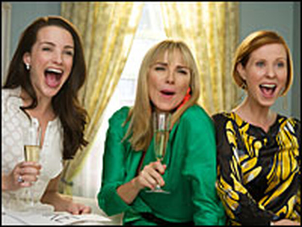 Model friends: Charlotte (Kristin Davis), Samantha (Kim Cattrall) and Miranda (Cynthia Nixon) keep Carrie company even when her seams are showing.