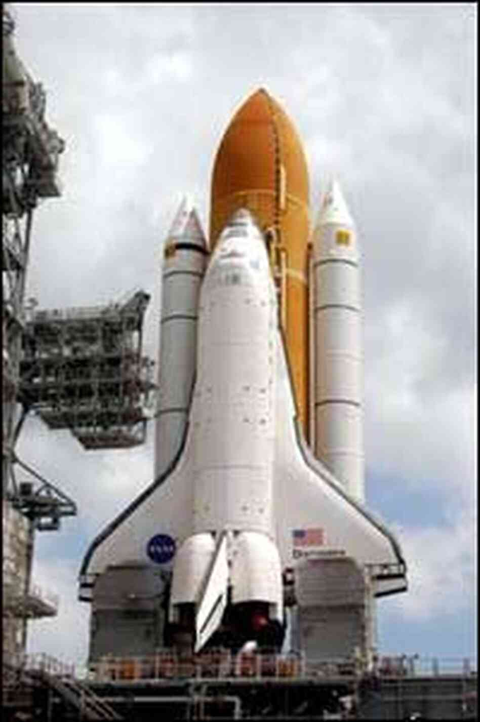 The Space Shuttle Discovery at the launch pad