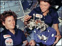 Astronauts Kathryn D. Sullivan and Sally Ride
