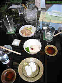 A typical meal at Yabusoba includes sake or shochu, another type of Japanese liquor and num