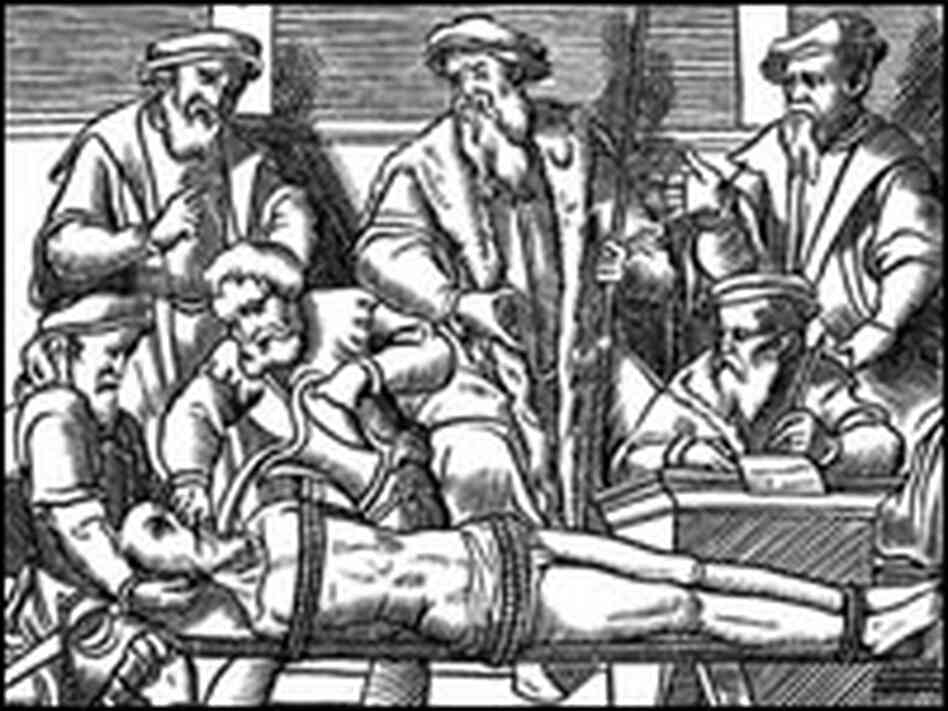 Image of a woodcut depicting waterboarding.