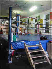 The central feature of any boxing gym -- the sparring ring.