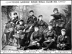 Photo of a 'Young Ladies' Baseball Club,' 1890-91