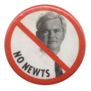 """A button reads """"No Newts."""""""
