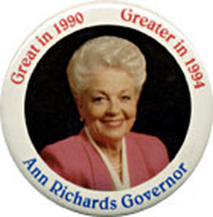 Smart and sassy, she ridiculed the senior Bush but lost the Texas governorship to the junior Bush.
