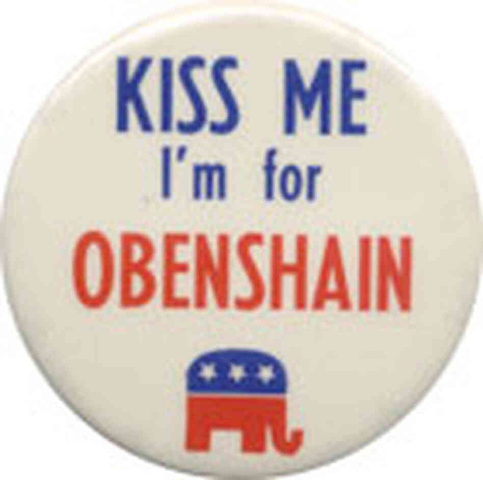 Political button reads: Kiss Me I'm for Obenshain