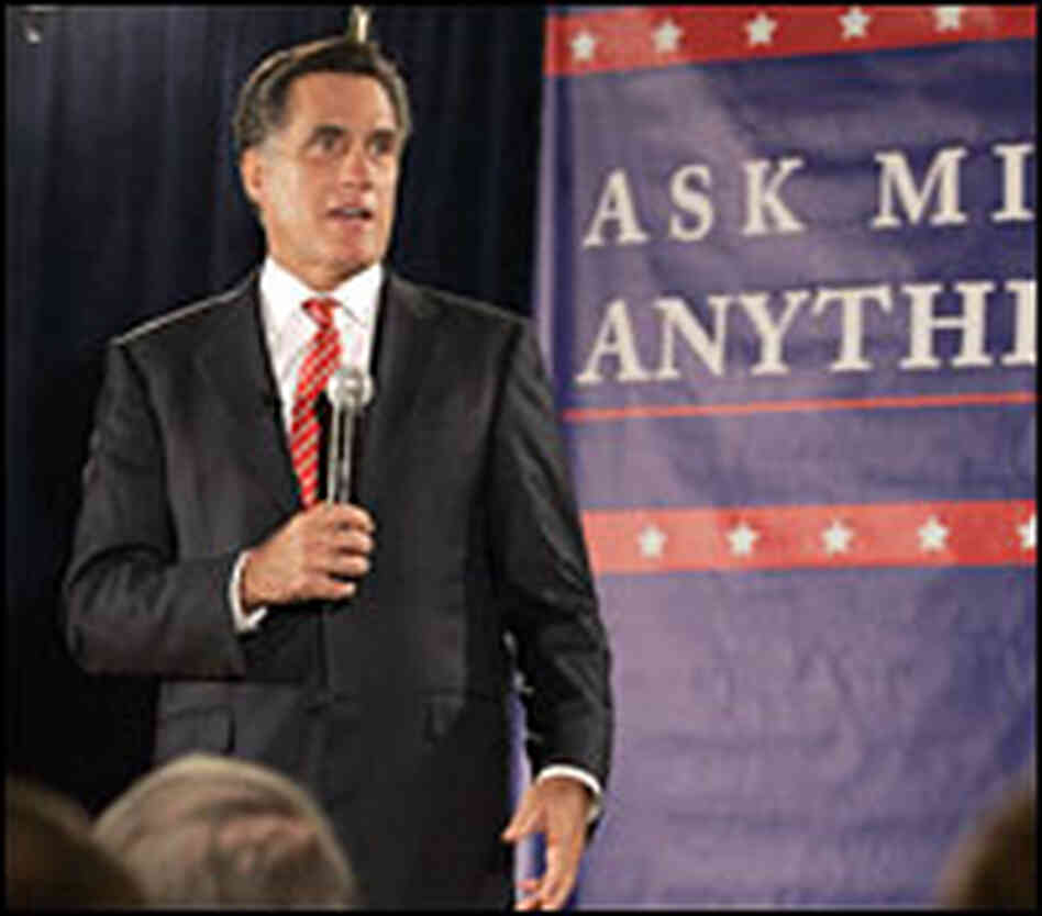 Mitt Romney campaigns in Ames, Iowa.