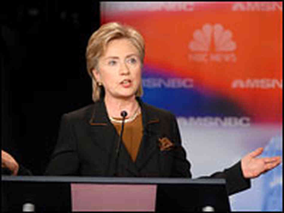 Sen. Hillary Clinton speaks during the Democratic presidential debate Oct. 30, 2007.