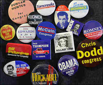Buttons from 2008 presidential candidates' first political campaigns.