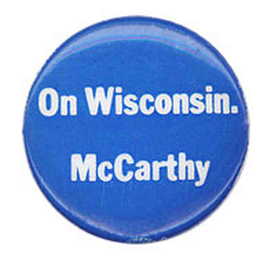 'On Wisconsin. McCarthy' button
