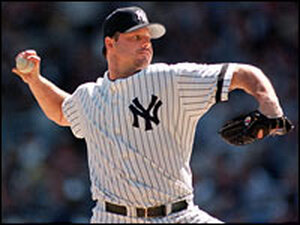 New York Yankees starting pitcher Roger Clemens throws against his former team, the Boston Red Sox.