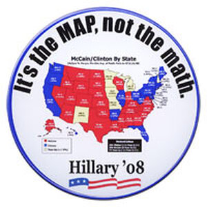 'It's the MAP, not the math. Hillary '08' button