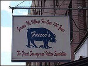 Sign outside the Italian supply store Faicco's