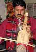 Prem Raja Mahat playing the sarangi