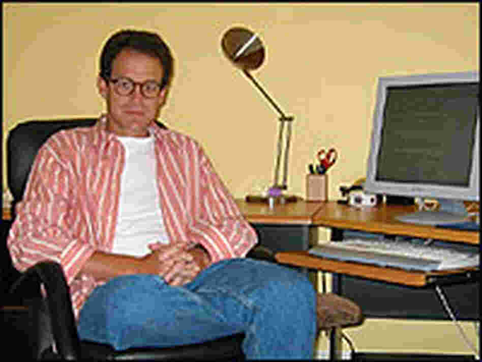 Writer Daniel Silva in his private den.