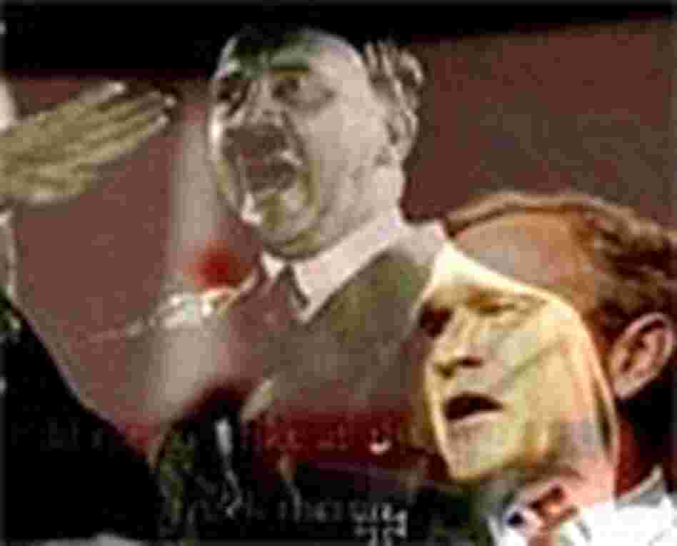 An image from a political ad comparing President Bush to Hitler