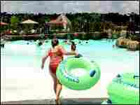 Children play at the Geyser Falls Water Theme Park on the Choctaws' new resort.