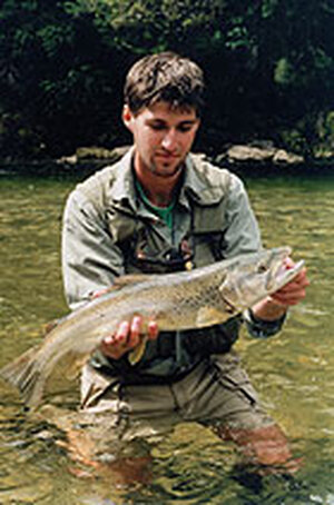James Prosek, with trout in hand.