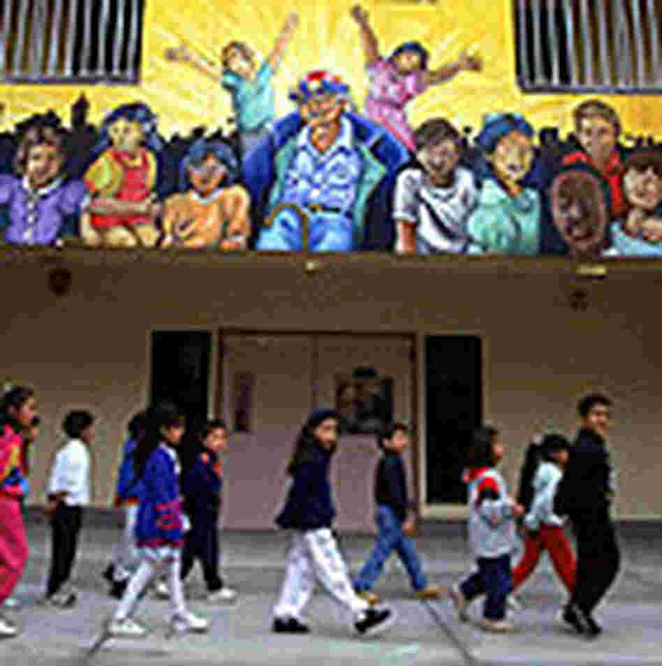 Children on a playground at Leo Politi public school in East Los Angeles, Calif.