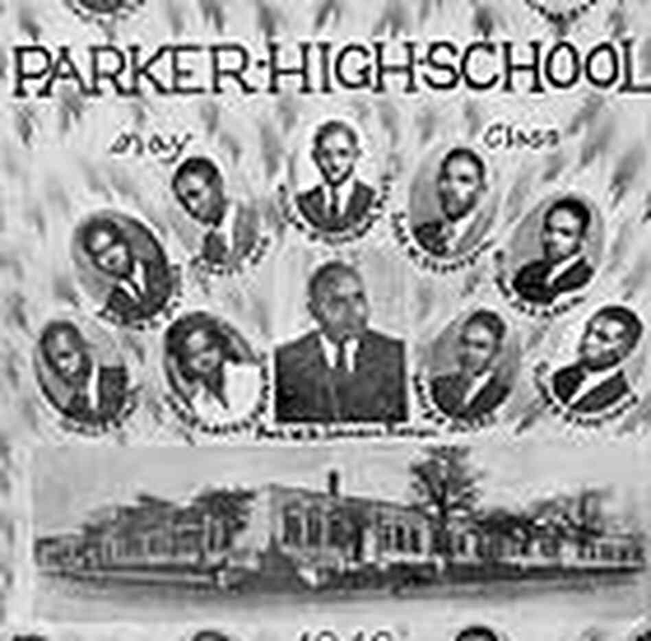 Detail from the class photo of 1943 graduates of Parker High School.